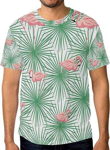 Camisetas para hombre de color rosa flamencos y verde palma ...