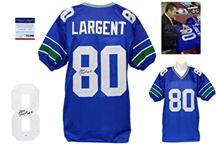 64ceba3321732 Image Unavailable. Image not available for. Color: Steve Largent Signed  Custom Jersey ...