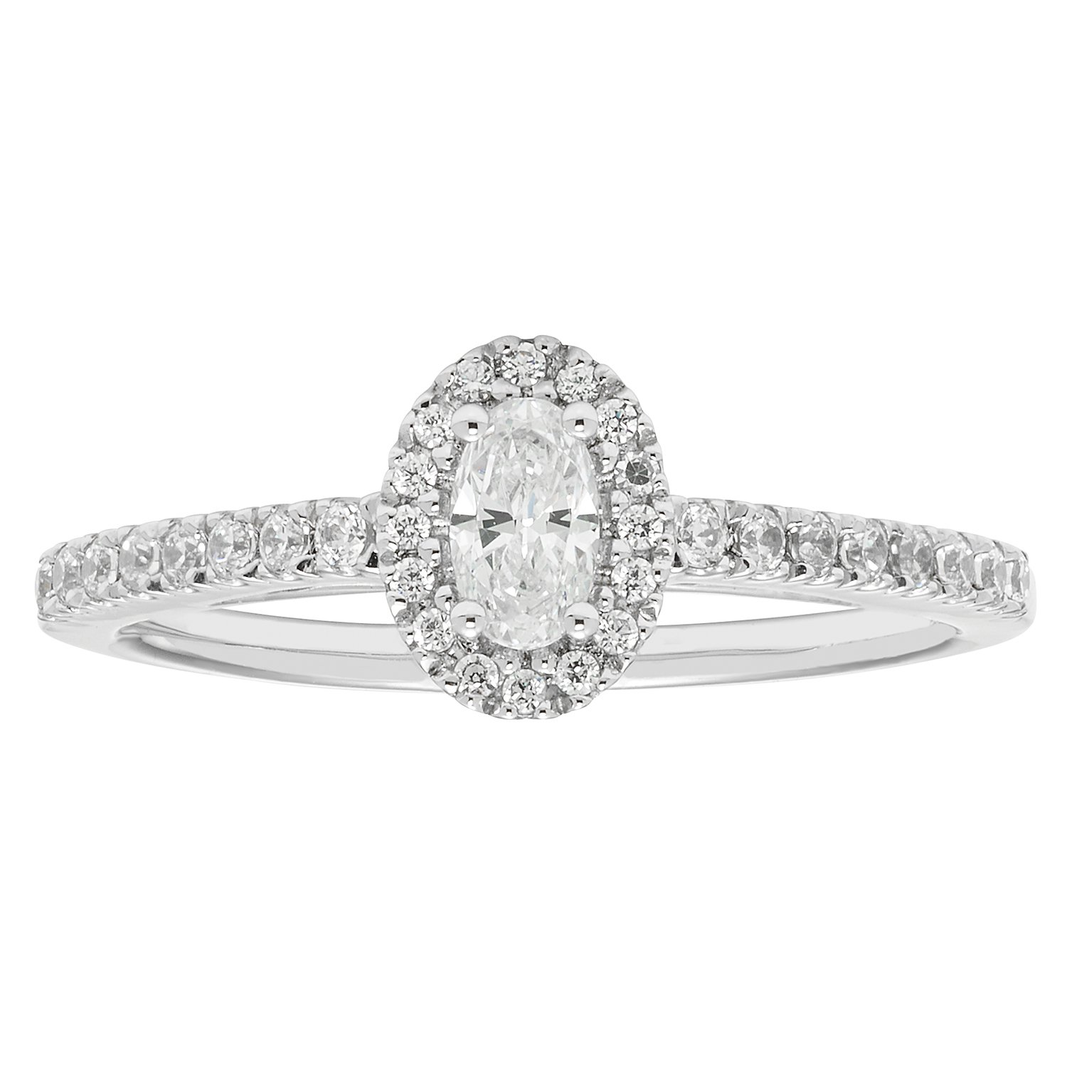 14K White Gold .47 Ctw. Oval and Round Cut Diamond Engagement Ring (SI1-SI2)