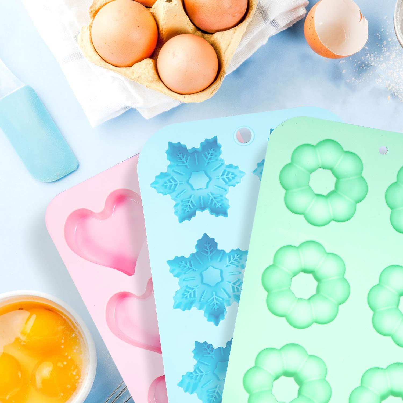 Senbowe Silicone Donuts Baking Mold- Set of 4 | Silicone Cake Baking Molds,| Round Doughnut-shape (6) | Flower-shape(6)| Snowflake-shape (6)|Non Stick Baking Molds Set | Oven & Dishwasher Safe by senbowe (Image #3)