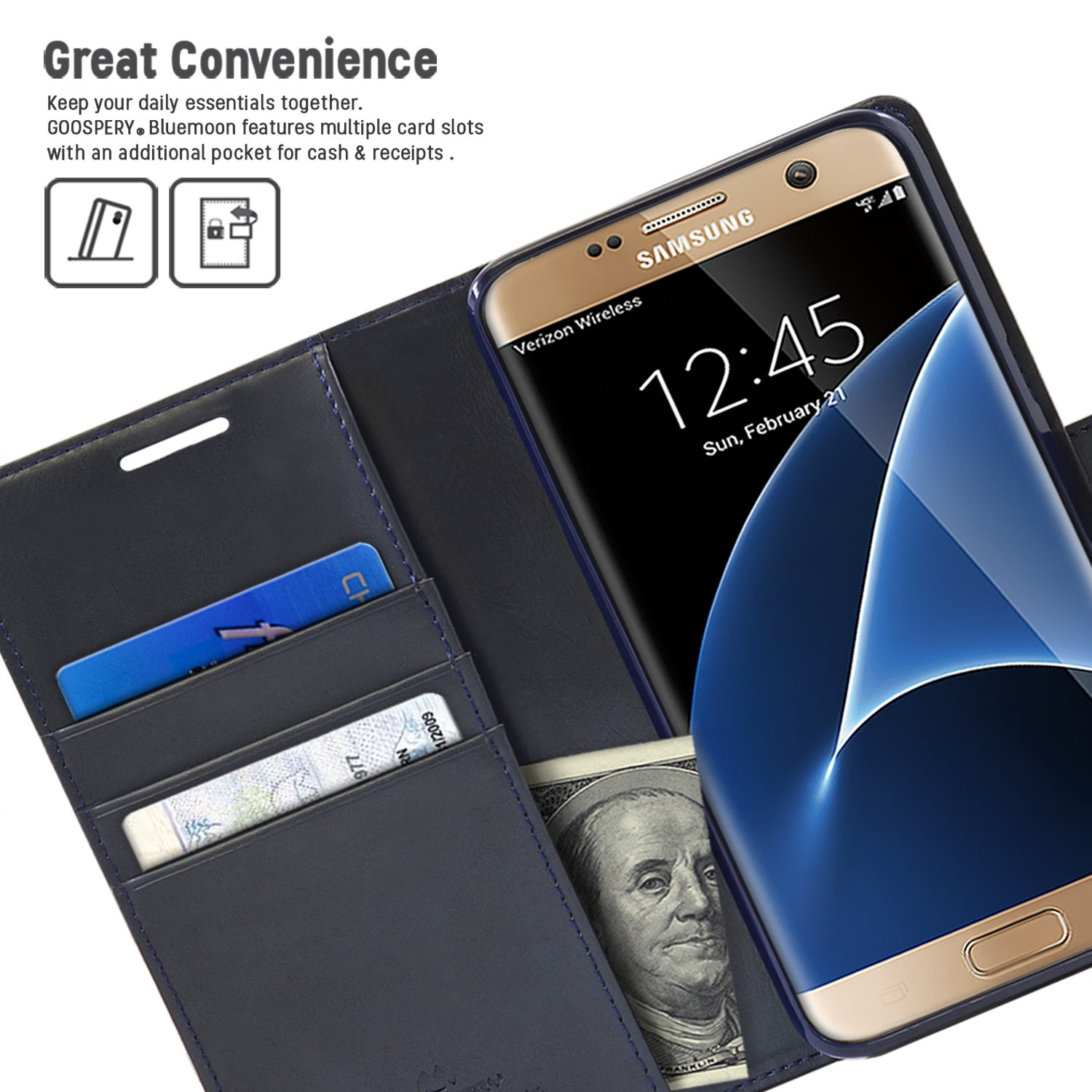 Goospery Galaxy S7 Case For Samsung Drop Note 3 Blue Moon Diary Protection Wallet Pu Leather With Shock Absorbing Tpu Casing Id Card