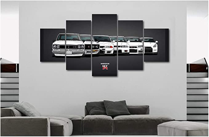 Rally Road Sport Car Track 5 piece HD Poster Wall Home Decor Canvas Print