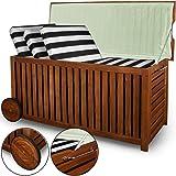 Garten Auflagenbox mit Innenplane und Rädern Aufbewahrungsbox Holz Gartenbox 117cm Akazie rollbar Kissenbox Truhe