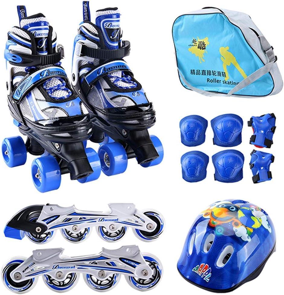 XZ15 スケート、ローラースケートセット、四輪スケート、プーリーの靴の子供の複列のローラースケート初心者の単一の行スケート (Color : 青, Size : S (31-34 yards) 3-6 years old) 青 S (31-34 yards) 3-6 years old
