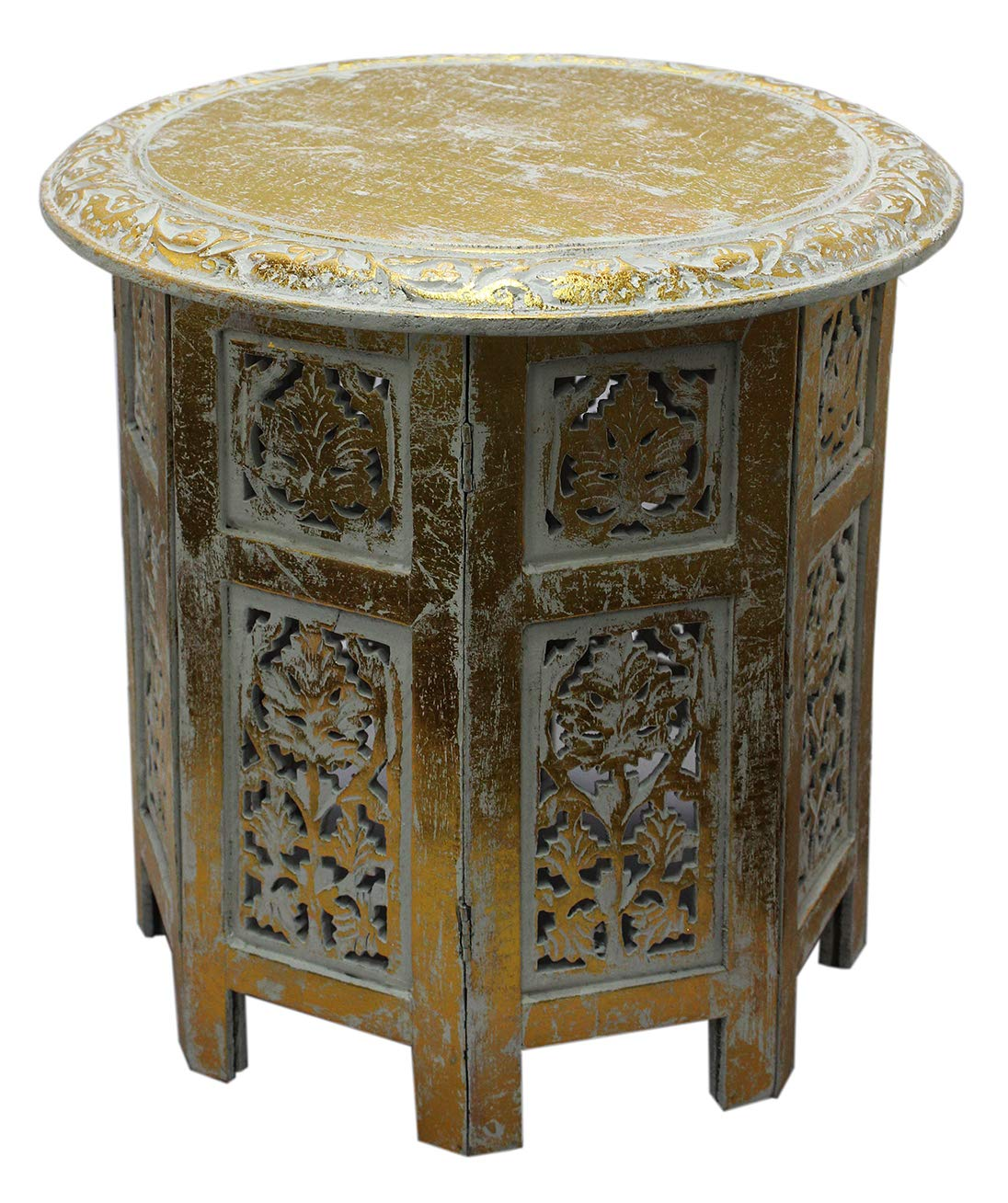Cotton craft jaipur solid wood handcrafted carved folding accent coffee table antique gold and white 18 inch round top x 18 inch high intricate detail