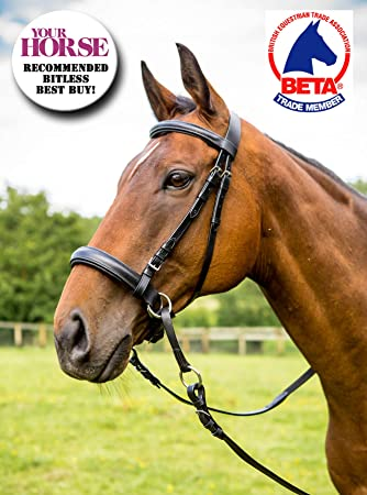 Cob size Easytrek brown leather padded bitless bridle /& grip reins cross over