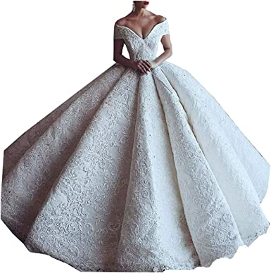 Amazon Com Bling Princess Beaded Crystal Lace V Neck Women Bridal Ball Gown Wedding Dresses For Bride With Train Long Clothing