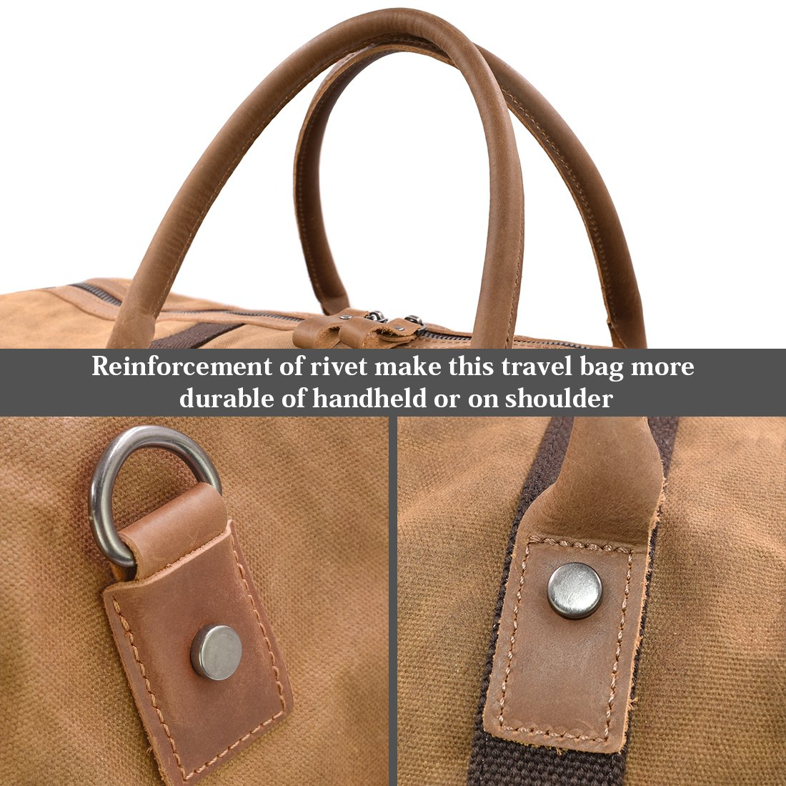 Travel Duffel Bag Waterproof Canvas Overnight Bag Leather Weekend Oversized Carryon Handbag Grey