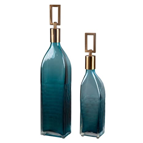 Amazon.com: Tall moderna Teal Verde Botella de vidrio Set ...