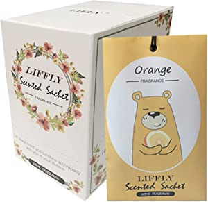 LIFFLY 14 Packs Orange Scented Sachets Bags for Drawer and Closet