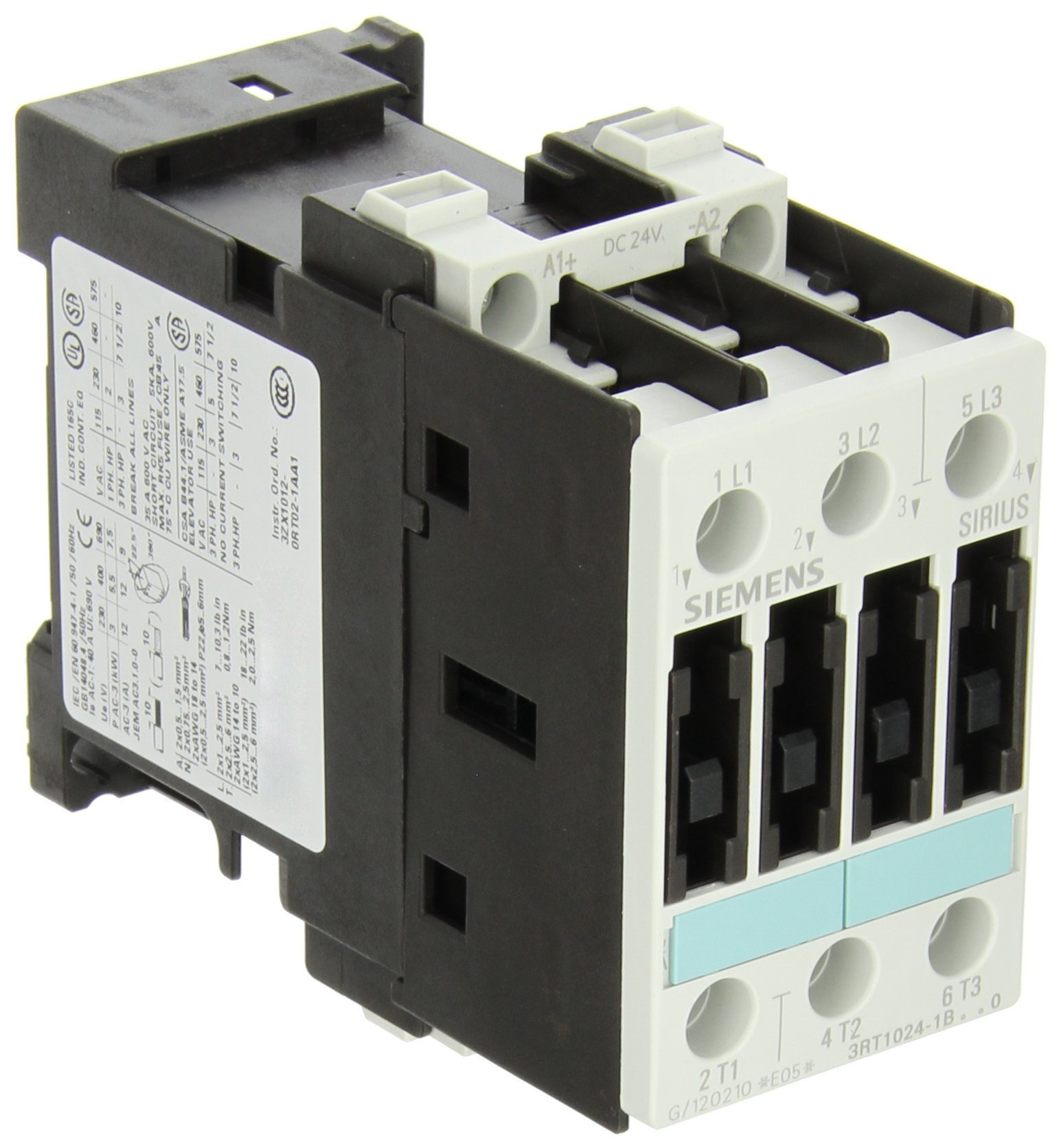 Siemens 3RT10 24-1BB40 Motor Contactor, 3 Poles, Screw Terminals, S0 Frame Size, 24V DC Coil Voltage