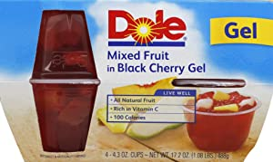 Dole Fruit Bowls, Mixed Fruit in Black Cherry Gel, 4.3oz, 4 cups