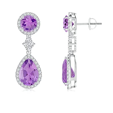Angara Amethyst Two Tier Drop Earrings in Yellow Gold kiMna