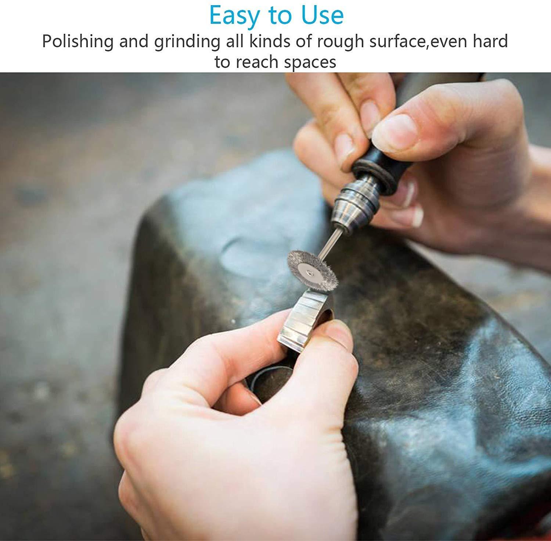 ASelected Lot de 45 brosses m/étalliques pour perceuse Dremel Kit de nettoyage et de polissage Tige 3 mm Mini outil rotatif en acier