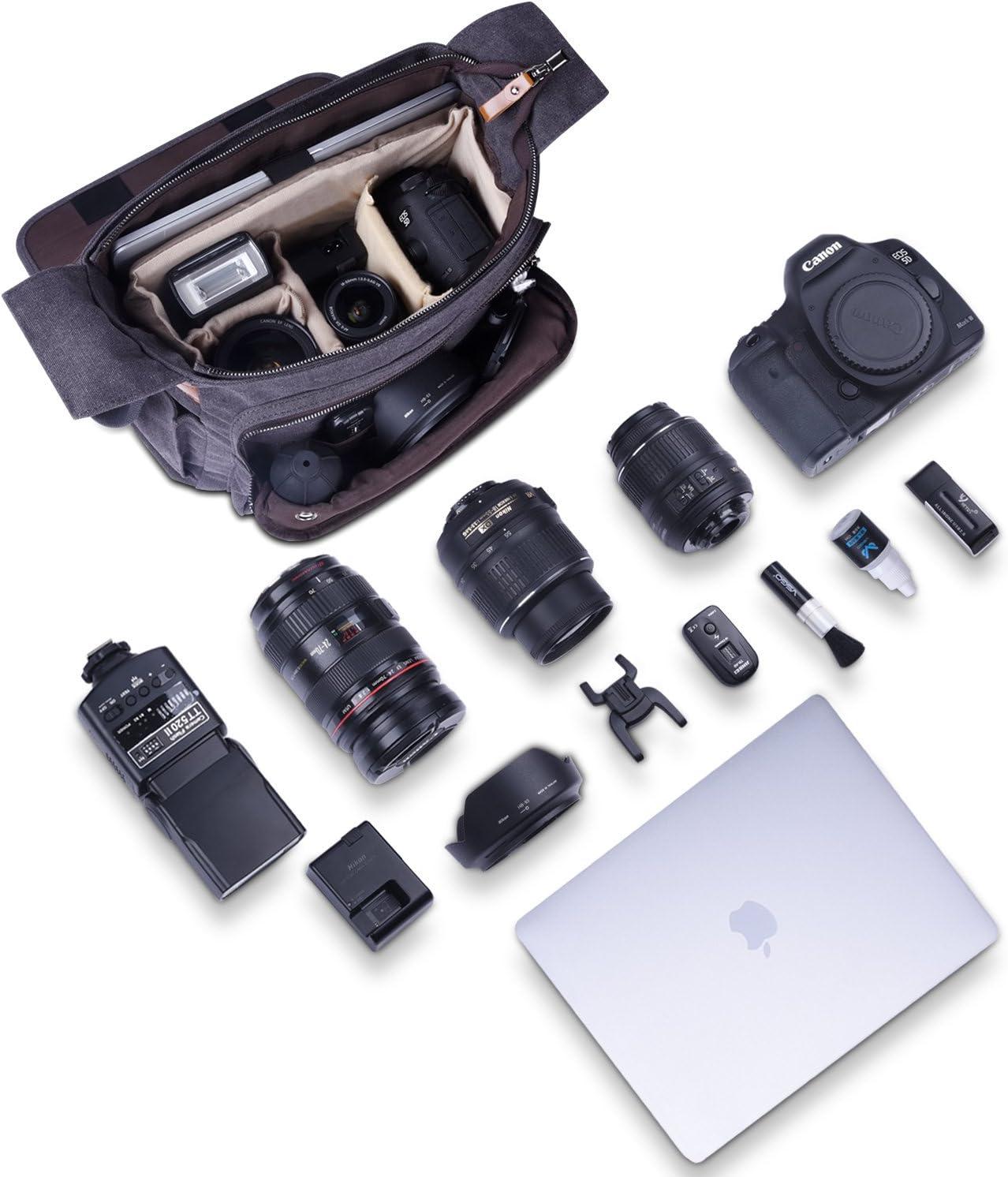 Estarer Kameratasche Fototasche SLR//DSLR//Spiegelreflex Kamera Umh?ngetasche aus Wasserabweisend Canvas 15,6 Zoll//14 Zoll Grau 14 Zoll