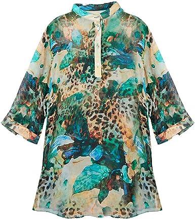 SIXIULIYU 100% seda arrugada gasa camisa pura seda gasa mujeres camisas transpirables más tamaño versión 3XL