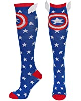 Captain America Shield and Stars Knee High Socks with Wings