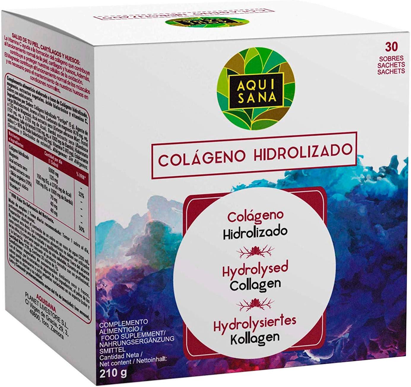 Colágeno con Magnesio | Colágeno Hidrolizado con Ácido Hialurónico y Vitamina C | Para Una Piel Radiante y Un Buen Mantenimiento las Articulaciones - 30 sobres - Aquisana: Amazon.es: Salud y cuidado personal