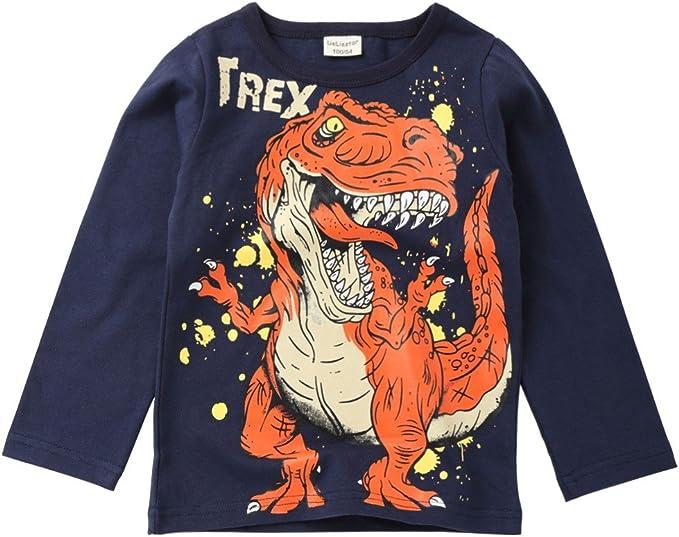 Fashion Cotton Kid Boys Cartoon Dinosaur Letter Print T-shirt Tops Shirts Tee