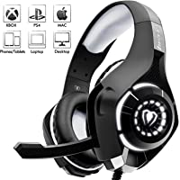 Beexcellent Cascos Gaming Stereo con Micrófono con la Luz LED Bass Surround Soft Memory Earmuffs Cancelación de Ruido para PS4 Xbox One Laptop PC ( Versión actualizada )