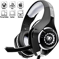 Beexcellent Casque Gaming, Casque Gaming Professionnel Stéréo Contrôle de Volume pour Xbox one PC Ordinateur (Noir +Gris)