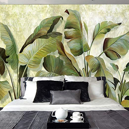 3D Simple banana leaf Self-adhesive Removable Wallpaper Wall Mural Sticker 023