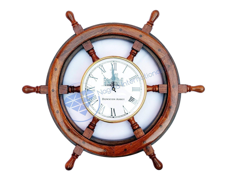 Nautical Premium Wood Ship Wheel W/ Downton Abbey Time's Clock   Pirate's Gift   Beach Home Decor   Nagina International (36 Inches)