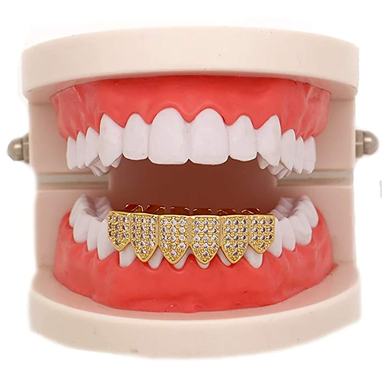 Shop-iGold 18K Gold Plated CZ Cluster Custom Slugs Top Bottom Rainbow Multi  Color Grillz Fangs Mouth Teeth Grills Set - Grillz 617cfb014