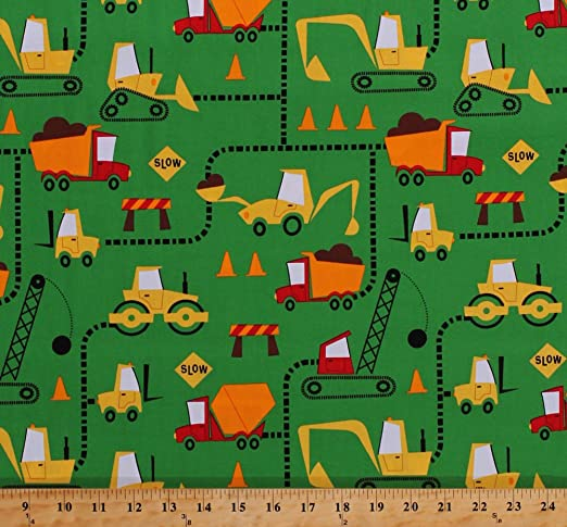 ROAD SIGNS CONSTRUCTION TRAFFIC CONES GRAY COTTON FABRIC FQ
