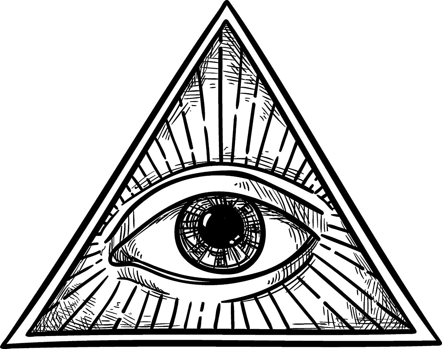 """Amazon.com: EW Designs Black and White All Seeing Eye of Providence in  Simple Pyramid Vinyl Decal Bumper Sticker (4"""" Wide): Kitchen & Dining"""