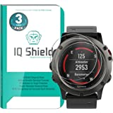 Garmin Fenix 5x Screen Protector (3-Pack), IQ Shield Tempered Ballistic Glass Screen Protector for Garmin Fenix 5x 99.9% Transparent HD and Shatter-Proof Shield