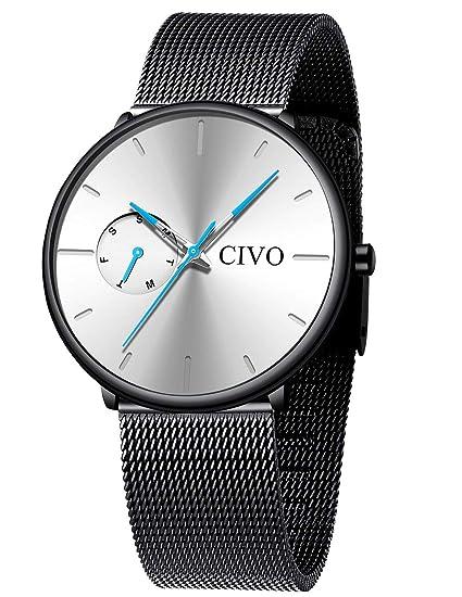 CIVO Relojes Hombre Reloj de Pulsera Analogico Minimalista de Malla Acero Inoxidable/Cuero Relojes para Hombres Casual Deportivos Negocios Vestido ...