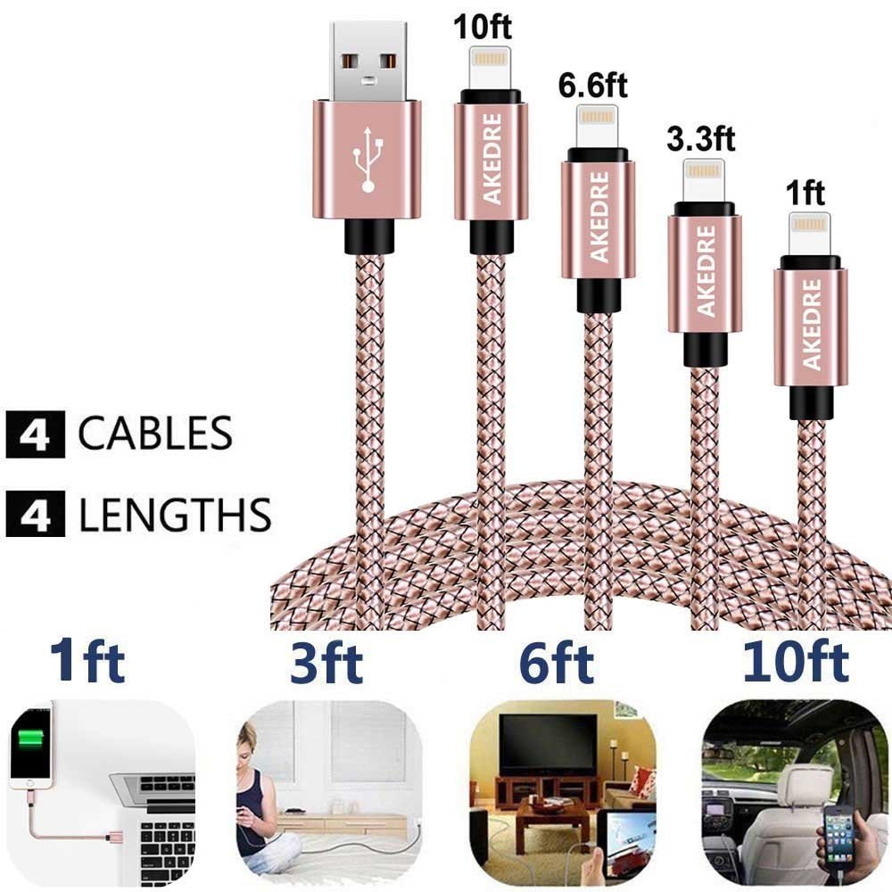 Phone Cables 4 Pack Nylon USB Charging /& Syncing Cord Charger Compatible with Phone X 8//7//6s//6//Plus//5se//5s//5c//5 and More /… 10FT 6FT 3FT 1FT