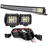 52 INCH Curved LED Light Bar+ 2Pcs 4inch 60w LED Light pods With Wiring Kit Combo For Driving Fog Lamp Marine Boat…