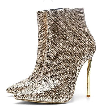 Hy Zapatos de Vestir para Dama, Botines de tacón Muy Alto, Botas de Moda con Estilo ...