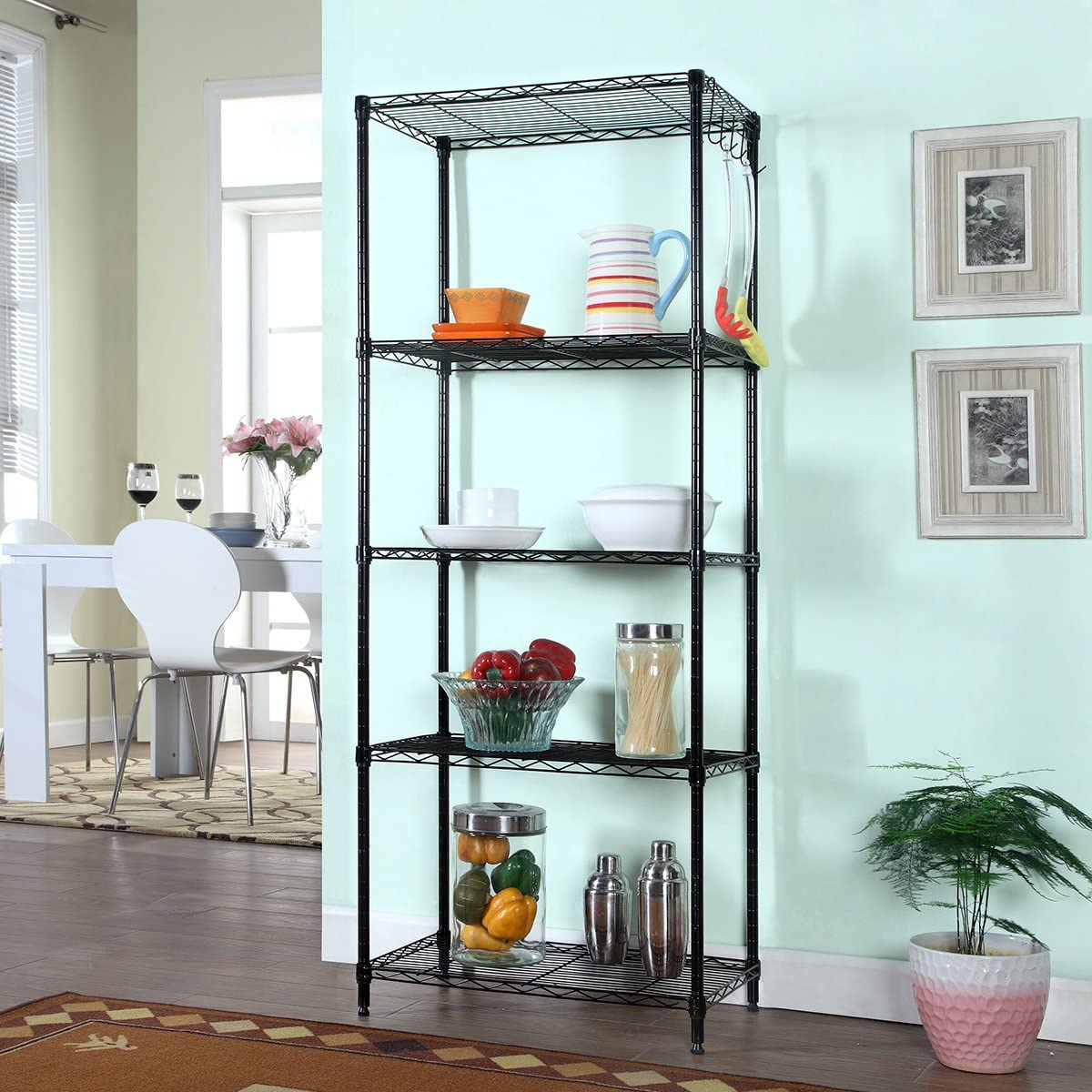 5-Shelf D30cm W55cm H150cm Black Steel Storage Rack Adjustable Wire Shelving Unit WJM30135-5BK