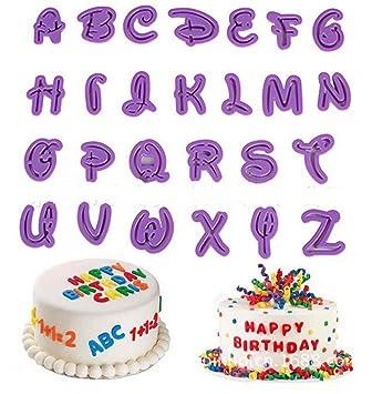 Cooplay - Molde para moldes de glaseado con letras y dibujos animados, 26 unidades,