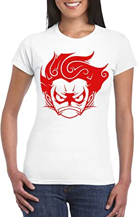 White Female Gildan Short Sleeve T-Shirt - Luffy gear 4 D2 – Red design