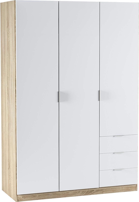Habitdesign LC1323F - Armario ropero de Tres Puertas y Tres cajones, Medidas 121 cm (Largo) x 180 cm (Alto) x 52 cm (Fondo) (Blanco Artik y Roble Canadian)