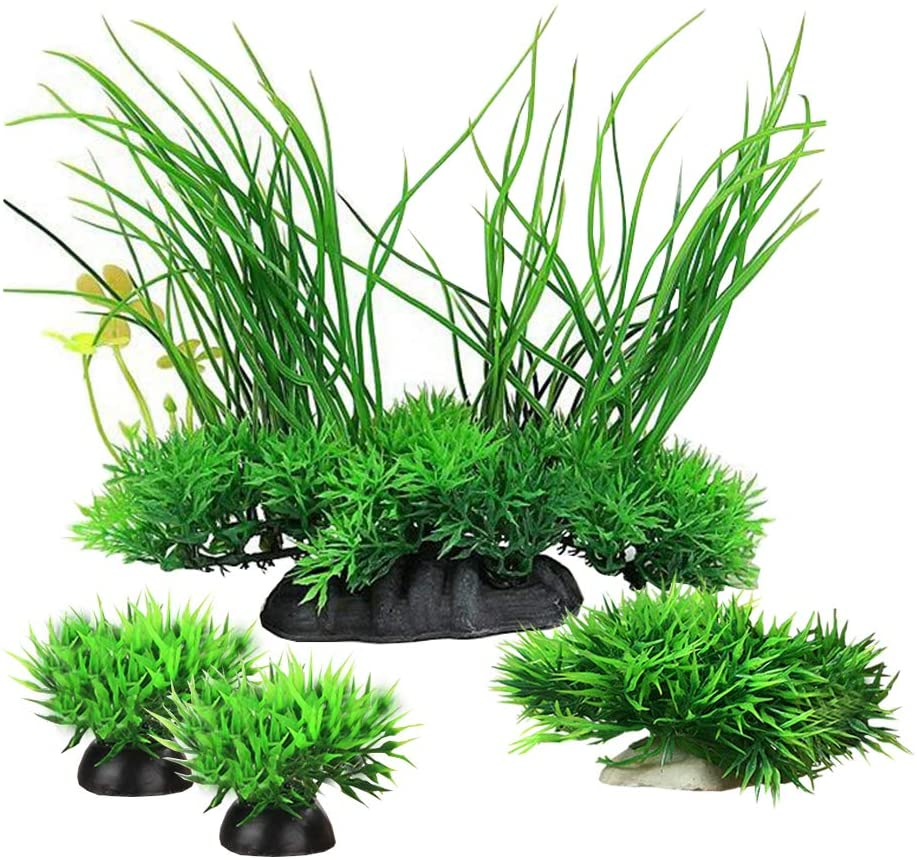 Smoothedo-Pets Aquarium Plants Fish Tank Decorations Medium-Sized/Tall-6.3inch/16cm Plastic Artificial Plant Goldfish Waterscape Fish Hides Small Grass/Clover (Green Set)