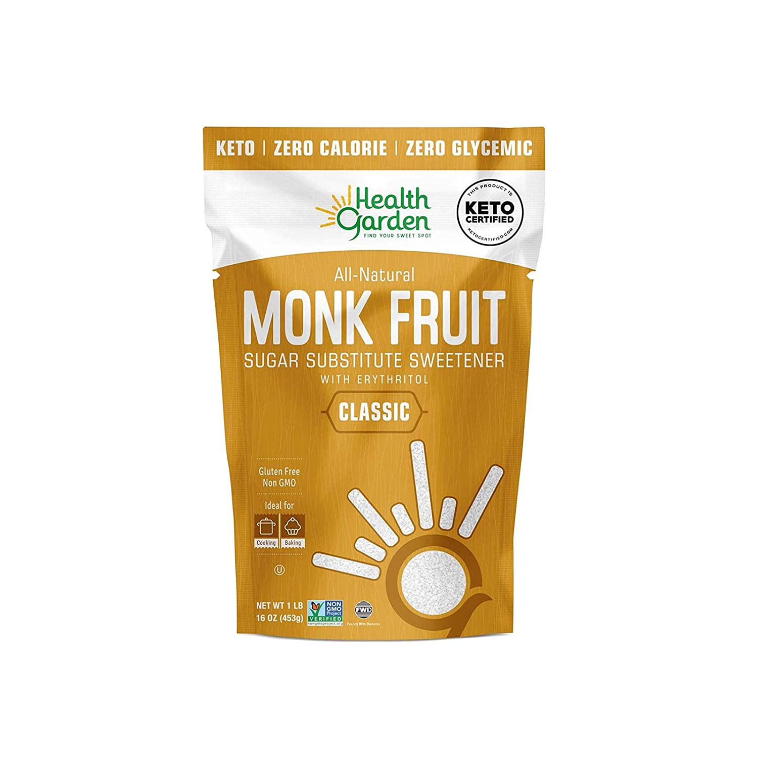Health Garden Monk Fruit Sweetener, Classic - Non GMO - Gluten Free - Sugar Substitute - Kosher - Keto Friendly (1 lb X 2)
