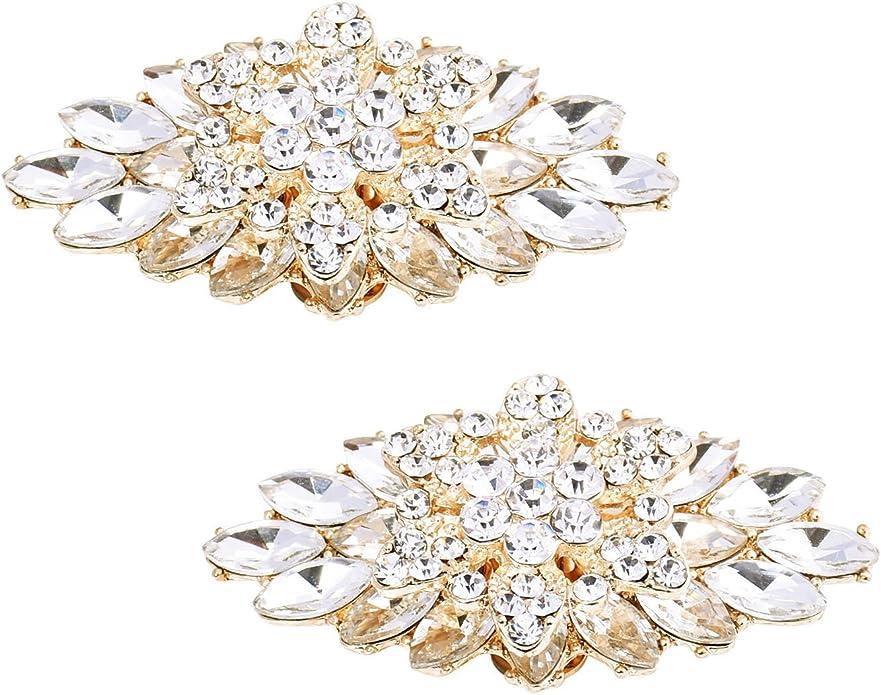 2 pcsPair Sparkle Wedding Rhinestone Shoe Clips