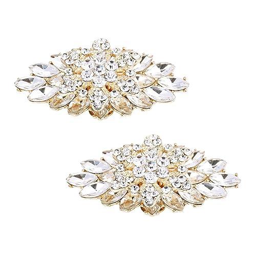 5ec0800bc51e2 ElegantPark 2 Pcs Shoe Clips Double Layers Rhinestones Wedding Party  Decoration