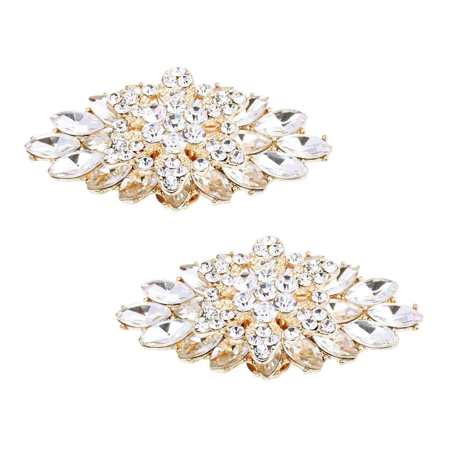 ElegantPark BD 2 Pcs Shoe Clips Double Layers Rhinestones Wedding Party Decoration Gold