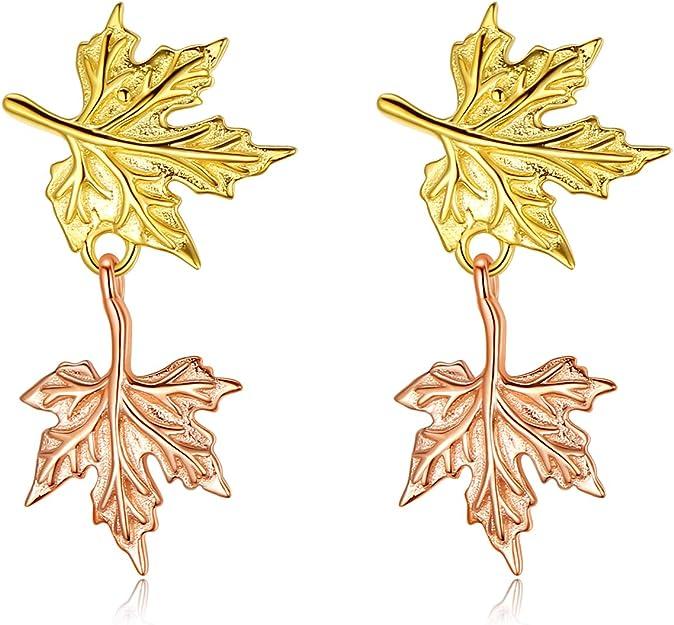 VIKI LYNN Double Maple Leaf Stud Earrings
