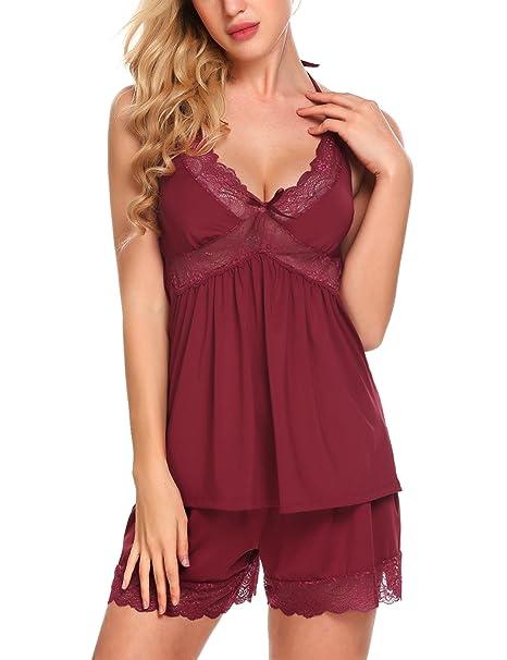 2ed82ec28a ADOME Women Sleepwear Lace Pajamas Set Modal Halter 2-Piece Cami Shorts  Nightwear Camisole Short