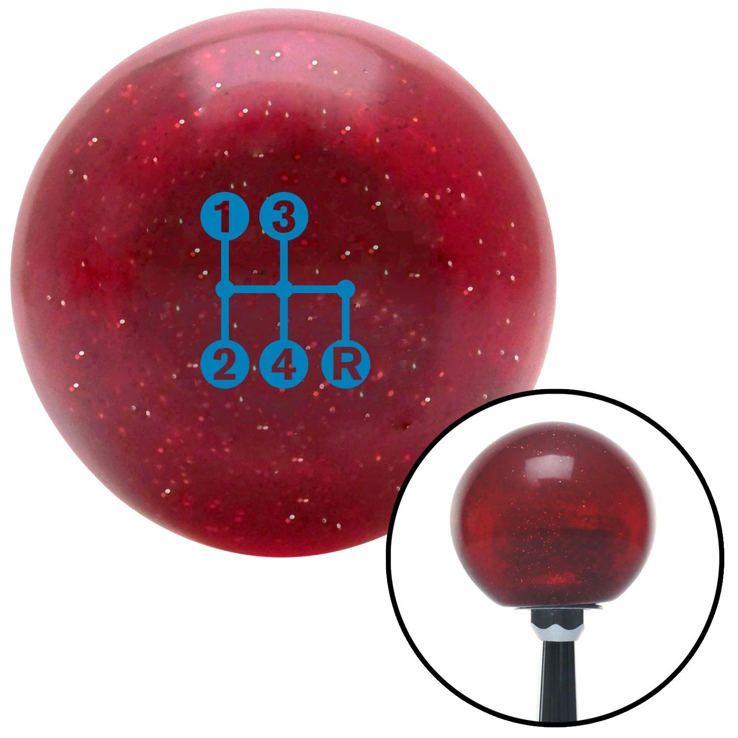 Blue 4 Speed Shift Pattern - Dots 6n Red Metal Flake with M16 x 1.5 Insert American Shifter 282786 Shift Knob