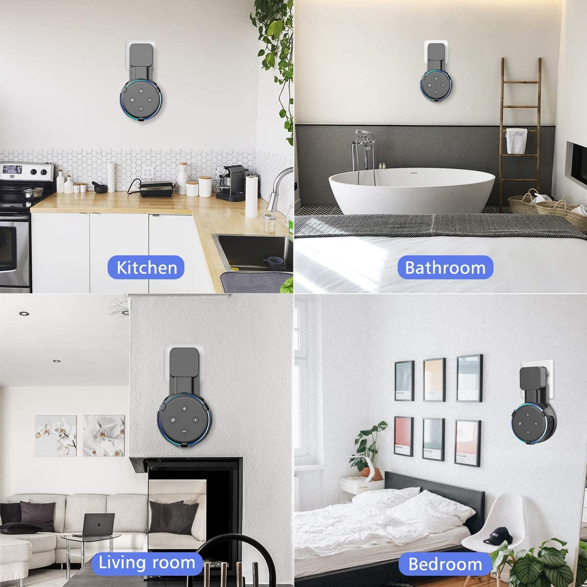 Outlet Wall Mount Holder Stand Hanger for Dot 3rd Gen,A Space-Saving Solution with Cord Management for Your Smart Home Speakers Hide Messy Wires Place on Kitchen Bedroom /& Bathroom(Set of 2 White)