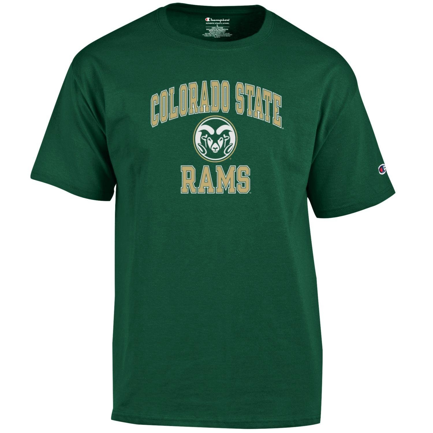 Champion NCAA Men's Shirt Short Sleeve Officially Licensed Team Color Tee, Colorado State Rams, X-Large
