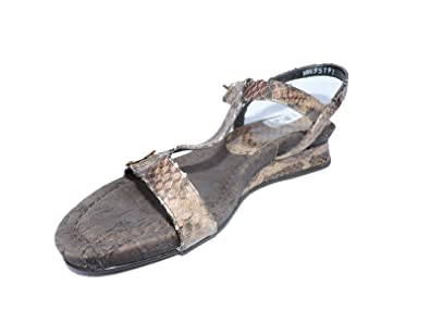d1e1e3f1a Image Unavailable. Image not available for. Color  Stuart Weitzman Teeoff  Women s Brown Snakeskin Anaconda Flats Sandals ...